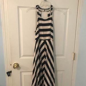 INC stripped maxi halter dress